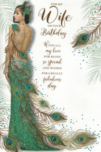 For My Wife On Your Birthday - Art Deco Card