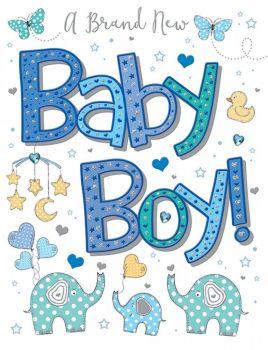 A Brand New Baby Boy! - Handmade Card