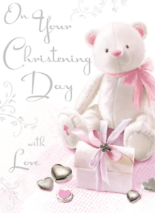 On Your Christening Day - Teddy Card