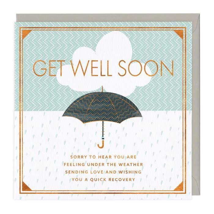 Get Well Soon Card - Umbrella