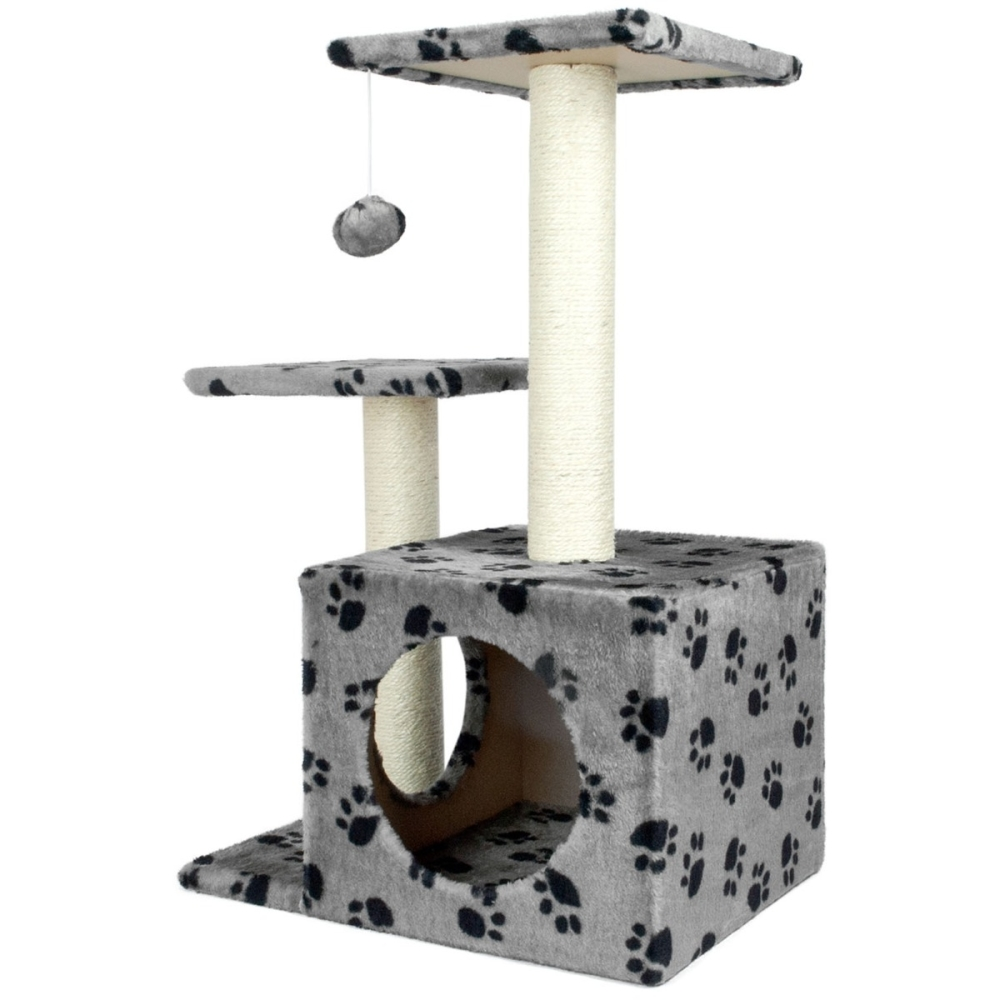 Cat Tree With Scratch Posts Grey