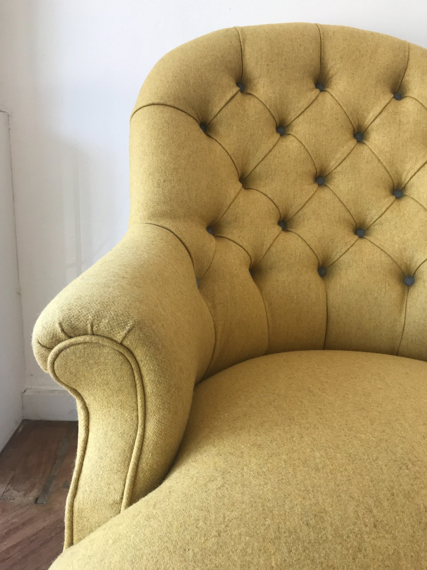 Victorian button backed chair in mustard wool felt by Spring  Upholstery Brighton