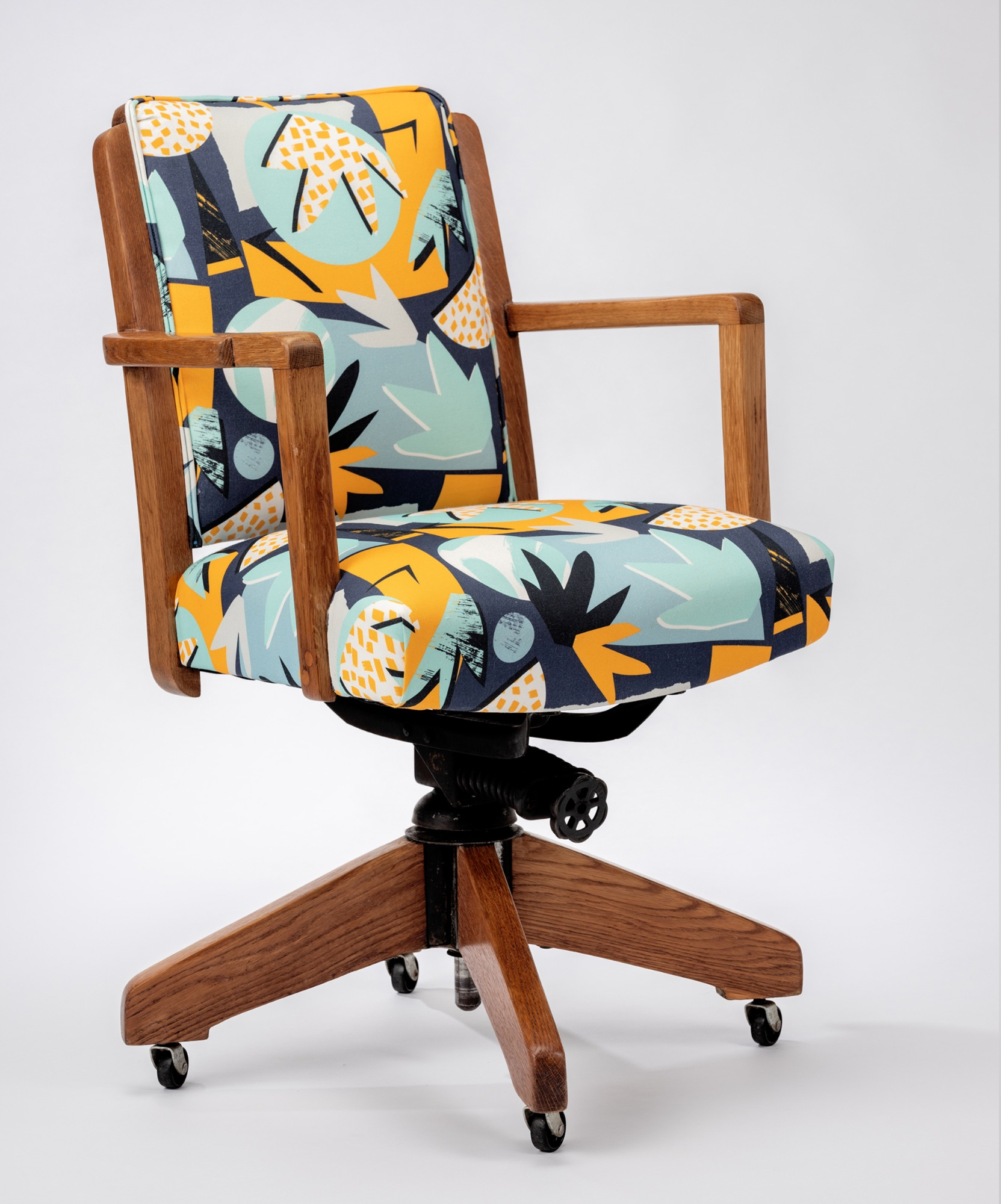 vintage desk chair in Lizzie Hillier  fabric by Spring Upholstery Brighton