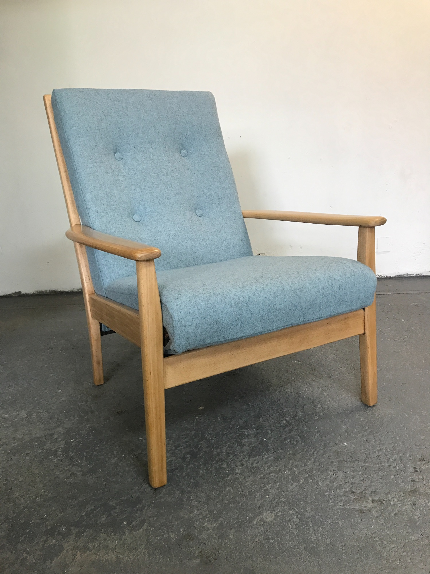 Vintage Cintique chair reupholstered in Camira Synergy wool felt  in pale blue