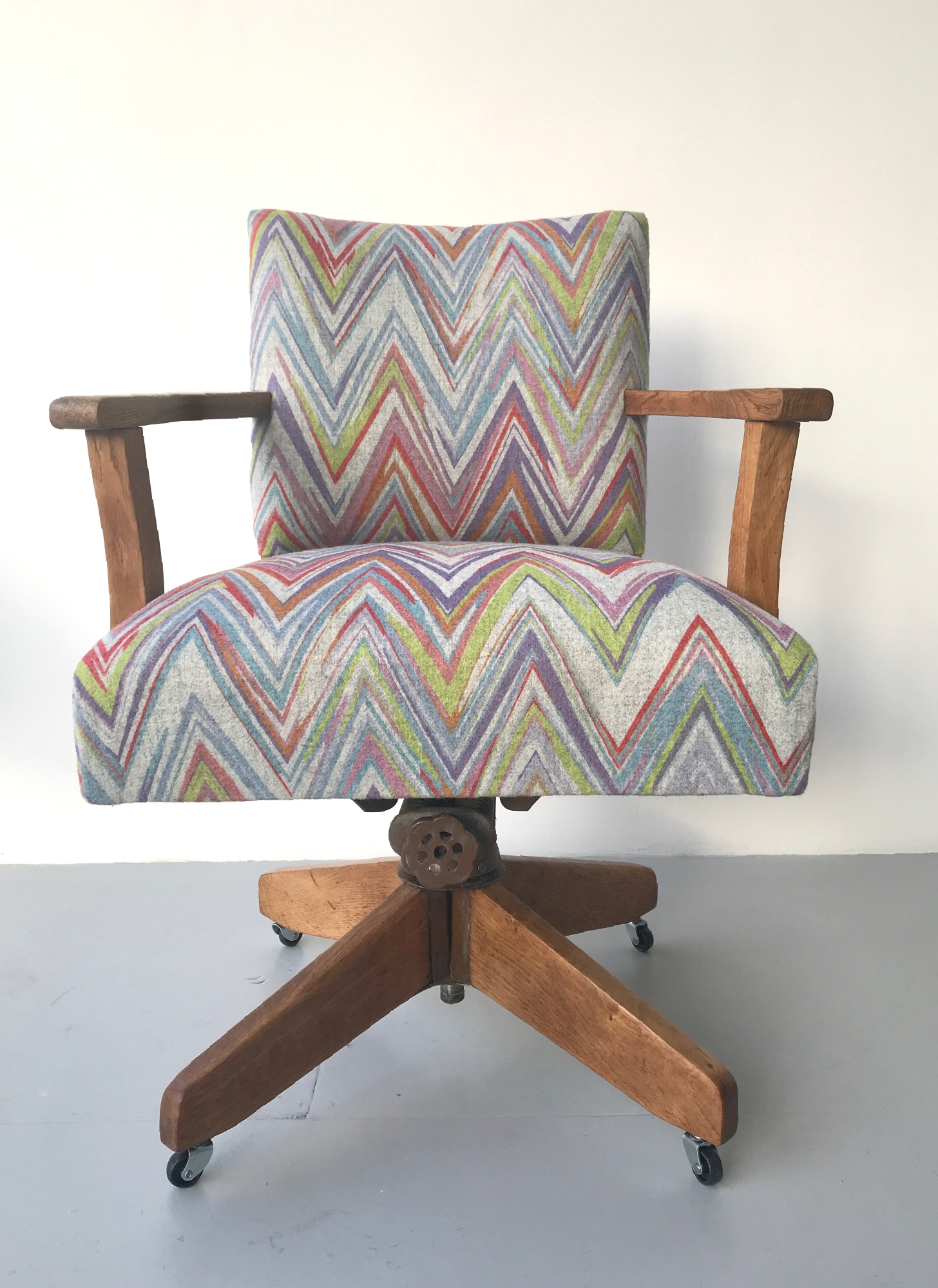 Vintage desk chair in camira fabric Zigzag  by Spring Upholstery Brighton