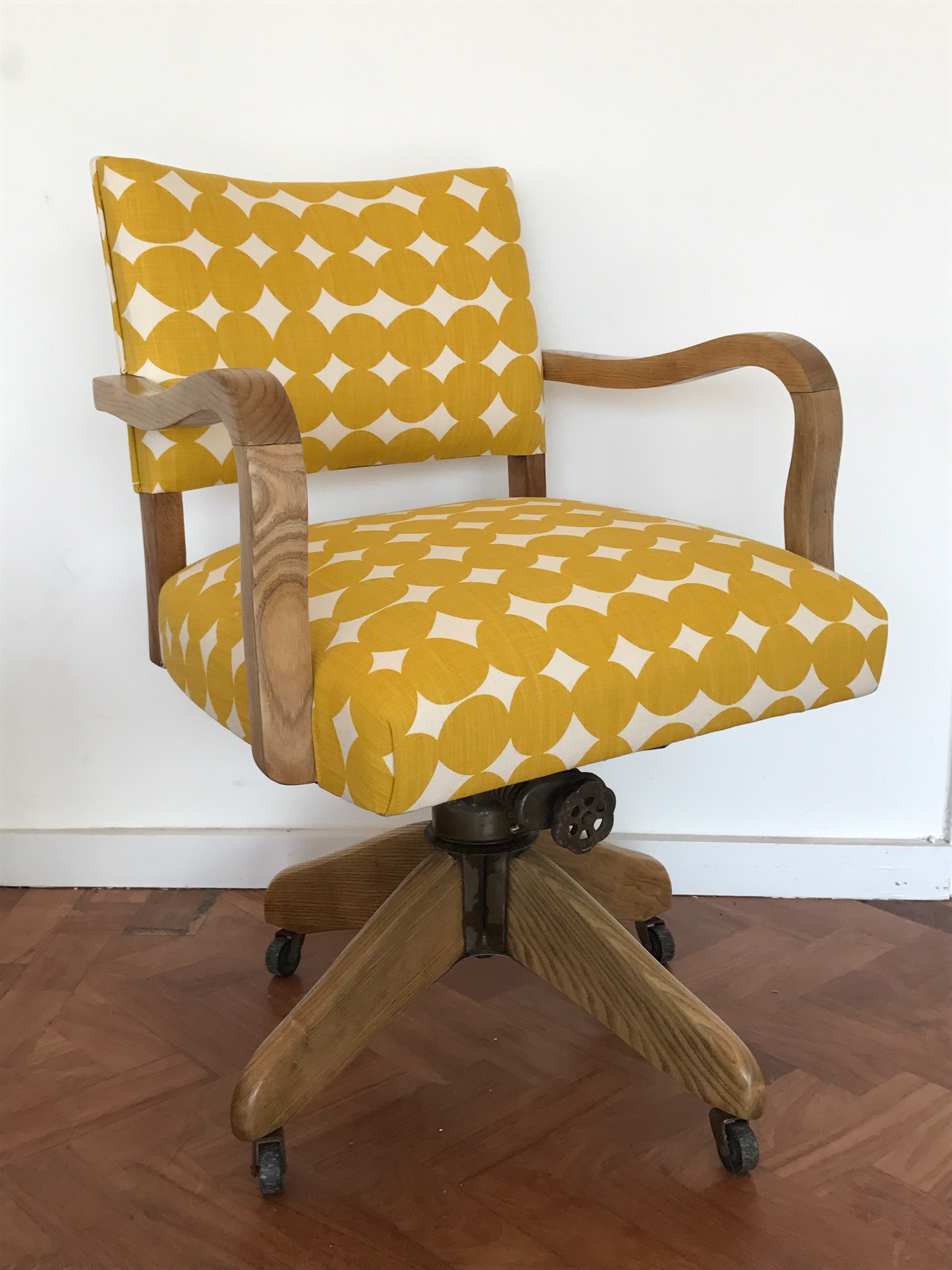 Vintage desk chair in Skinny Laminx pebble fabric  Spring Upholstery Brighton