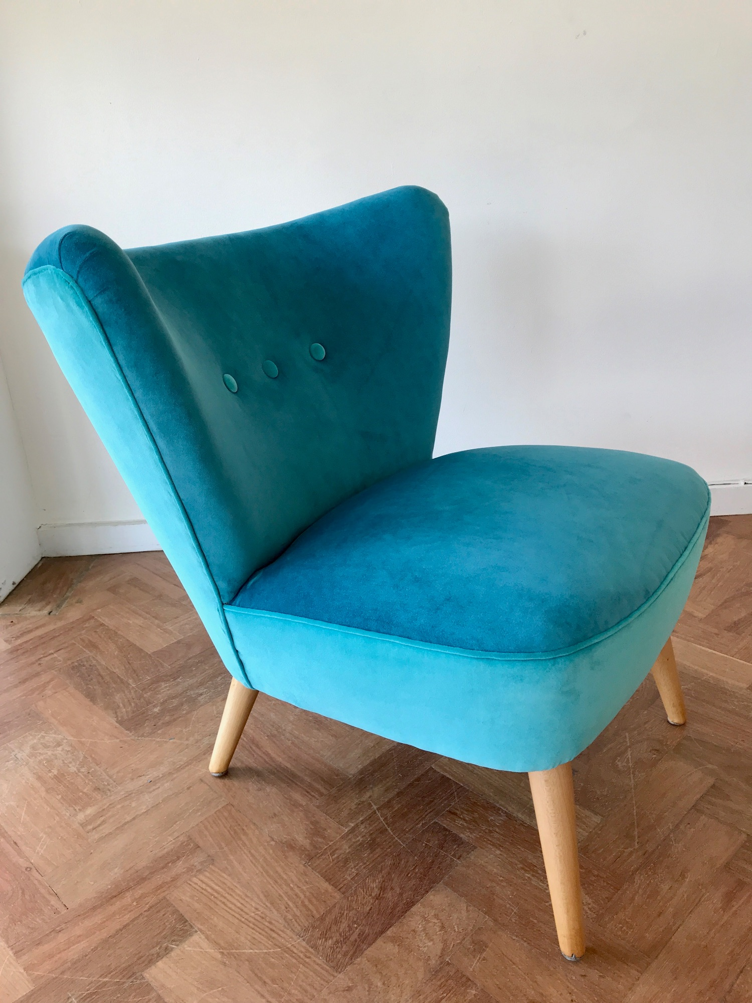 1950's cocktail chair by Spring Upholstery Brighton in turquoise Omega velvet by Linwood