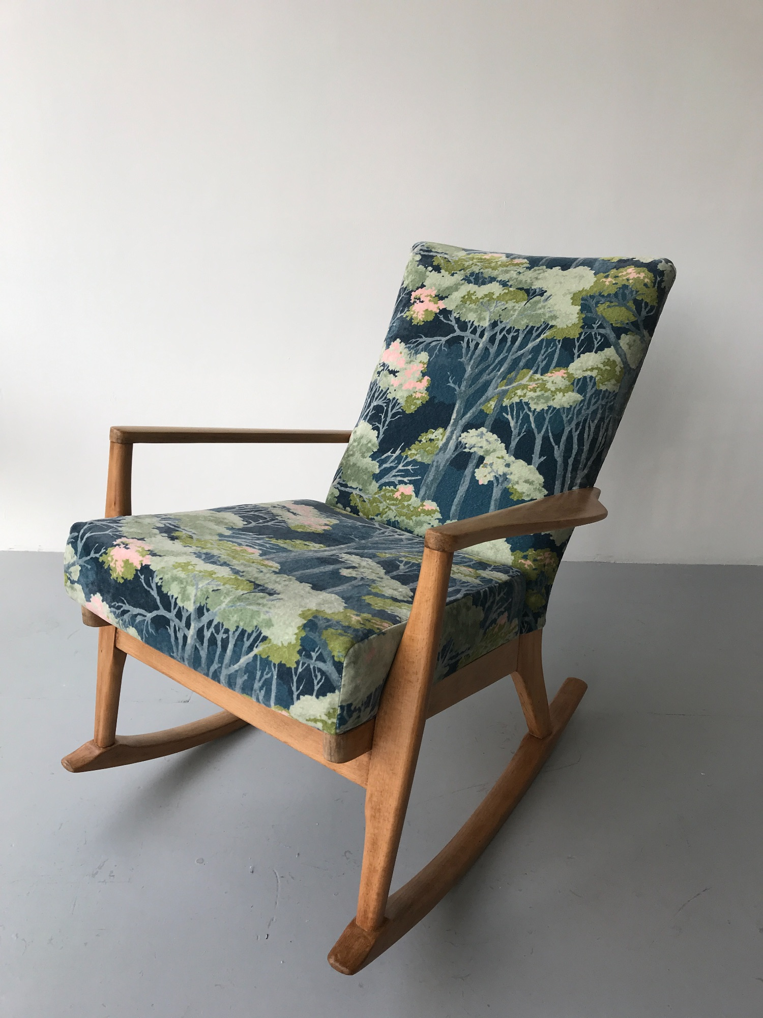 1960's Parker Knoll Rocking chair by Spring Upholstery Brighton upholstered in Linwood 's Omega velvet