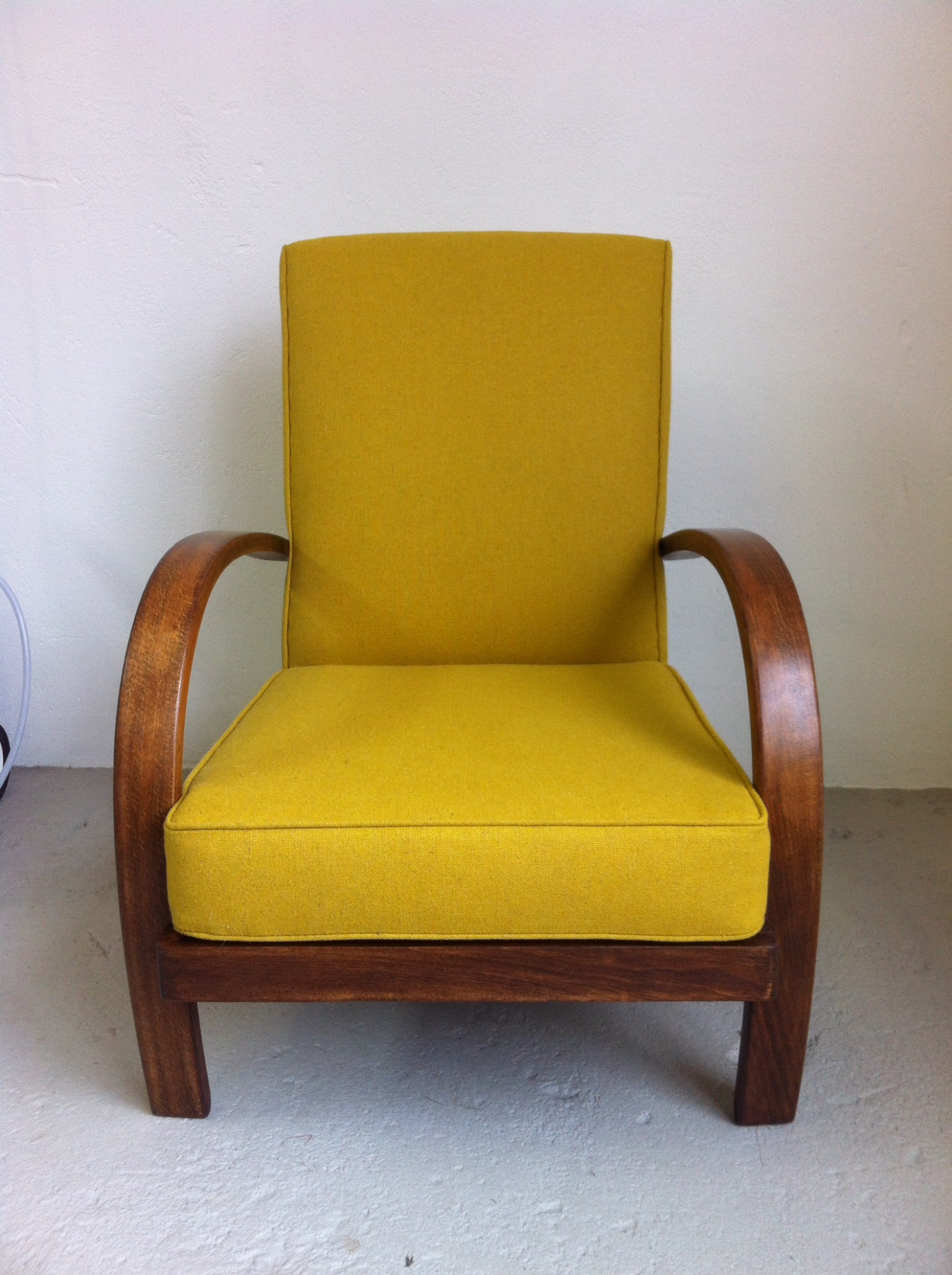 Bentwood arm chair in Camira's mainline flax fabric by Spring Upholstery Brighton