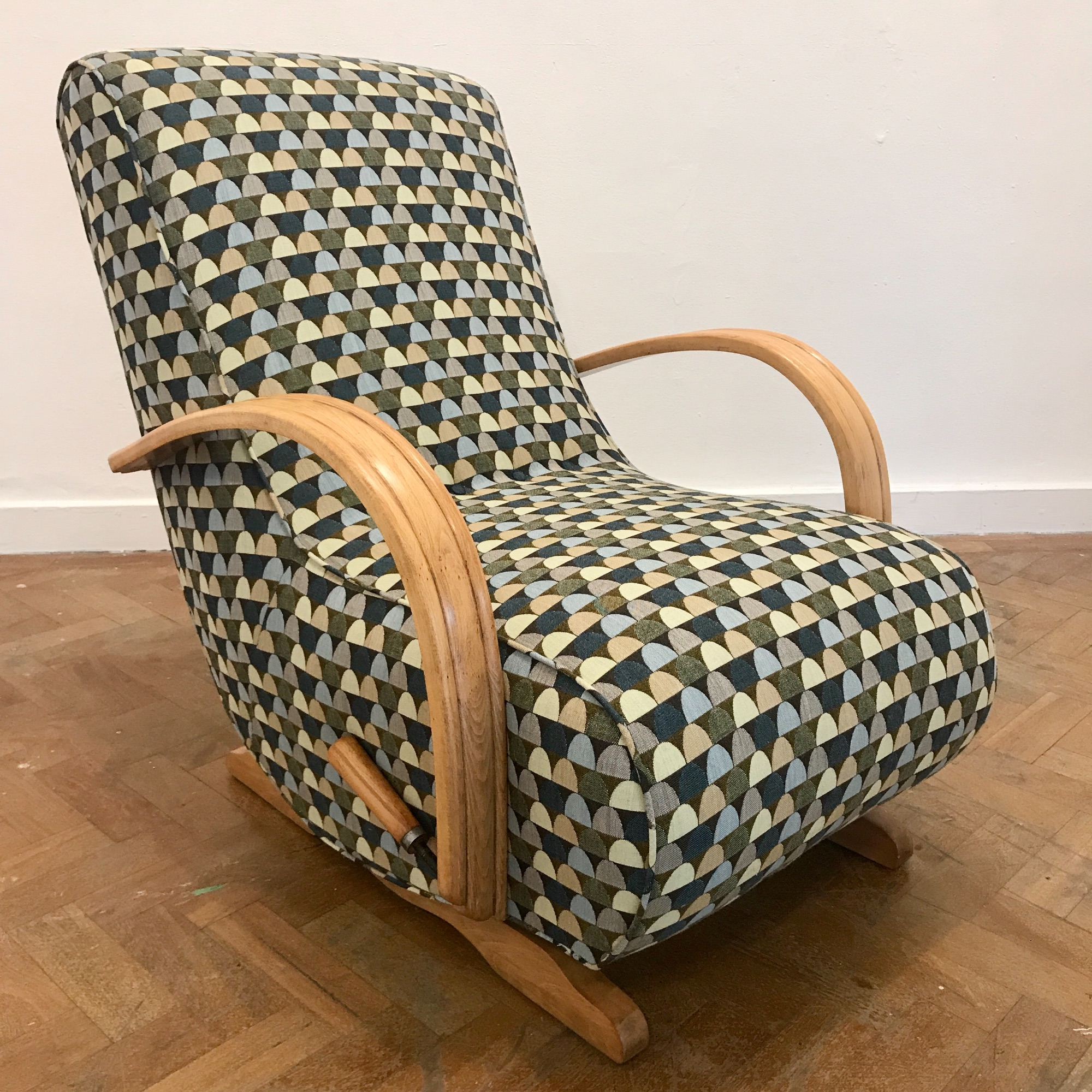 1940's Utility rocking chair  with bentwood arms & handbrake by  Spring Upholstery Brighton