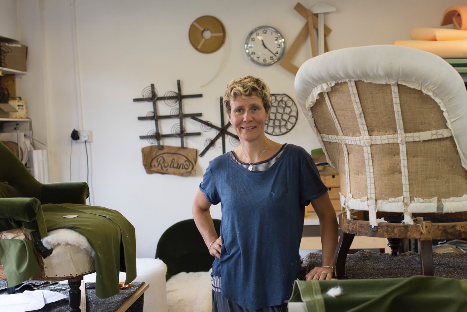 Nicki Tarr of Spring Upholstery Brighton in her upholstery studio at Phoenix Artspace