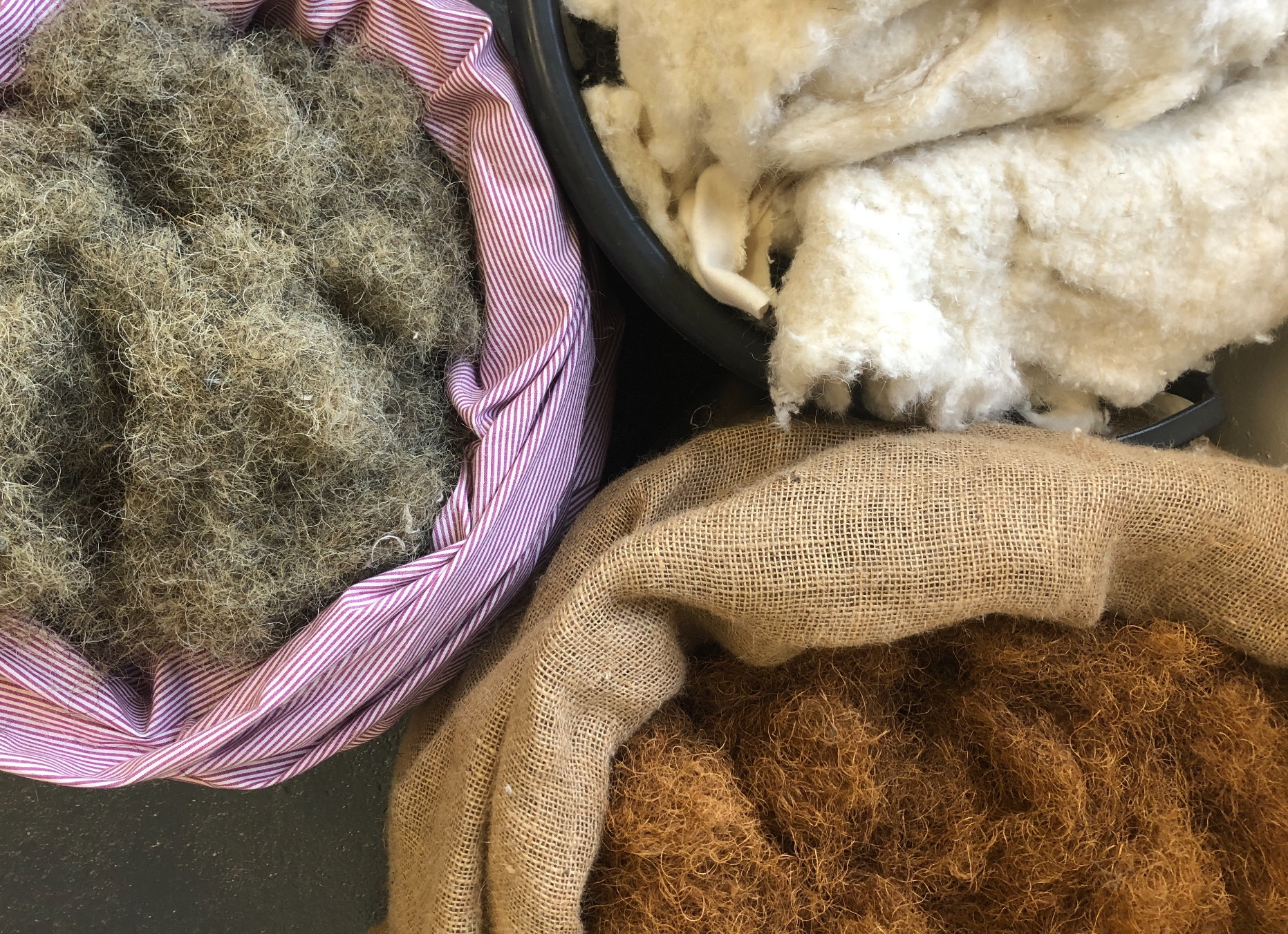 traditional upholstery  fillings include  coir hair and wool felt used by Spring Upholstery Brighton