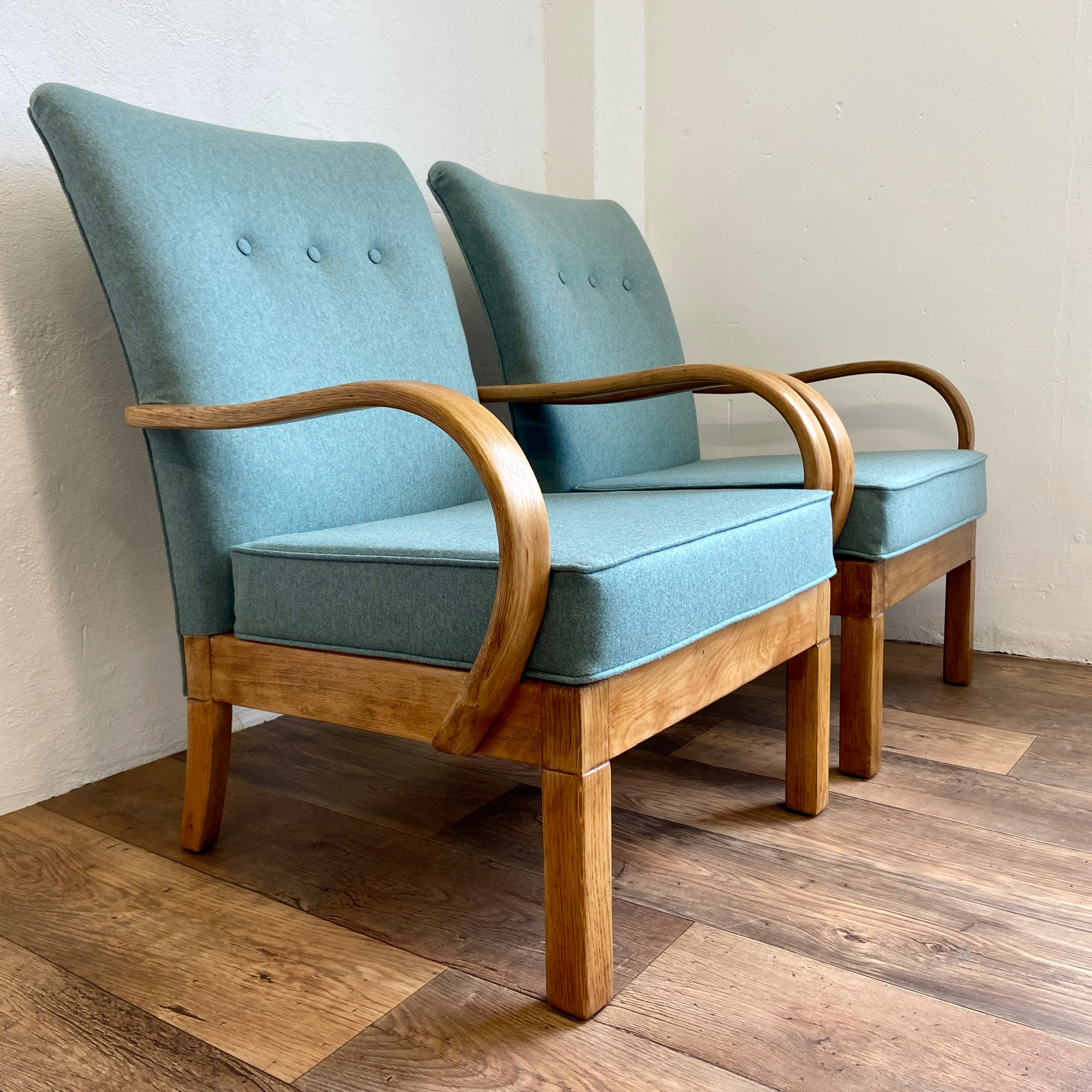 Utility bentwood arm chairs in Linwood's Lana fabric by Spring Upholstery Brighton