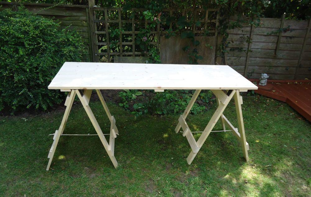 flatpack tressle table wooden 6 ft re-enactment