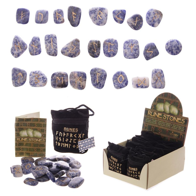 Runestone Set of polished 24 gemstone runes Futhark series