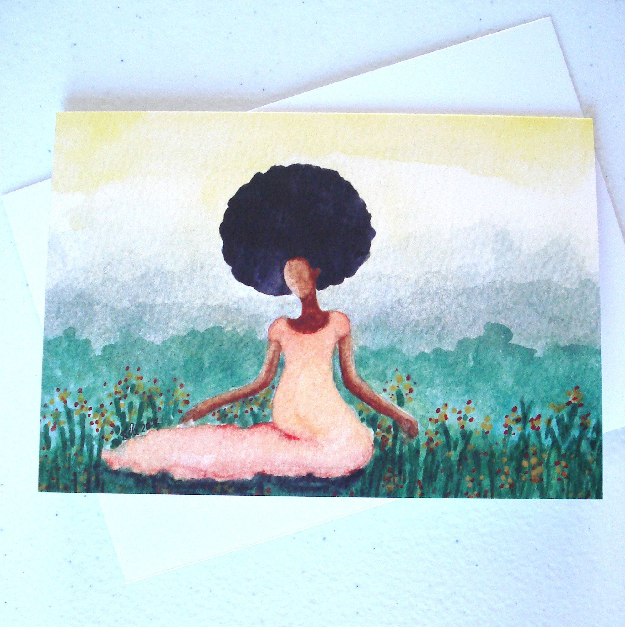 Meadow Afro Caribbean Greeting Card by Stacey-Ann Cole
