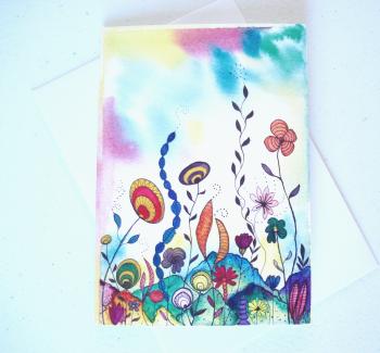 Semi-Abstract Greeting Card 'Sub-Aquatic 2'