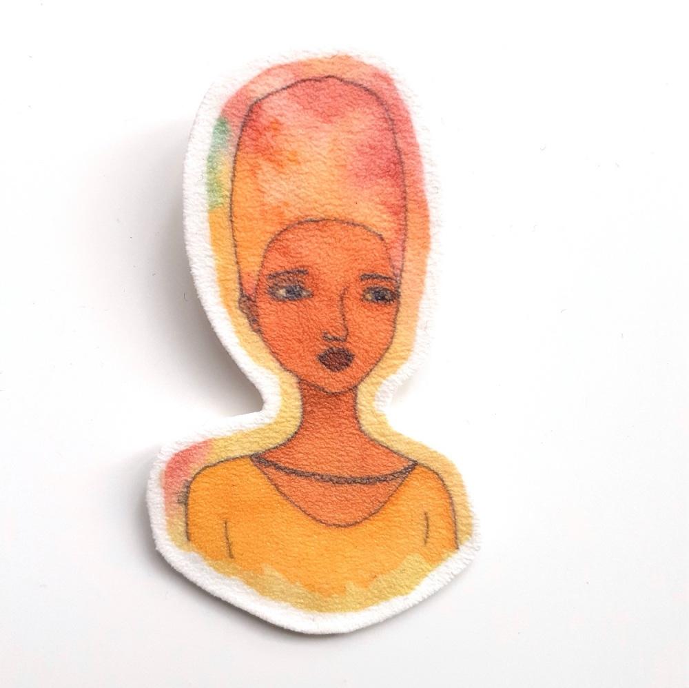 Large Handmade Shrink Plastic Brooch 'Grace'