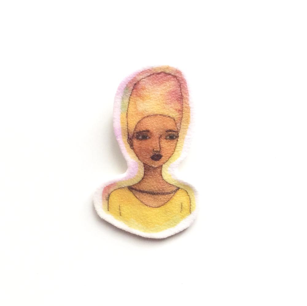 Small Handmade Shrink Plastic Brooch 'Grace'