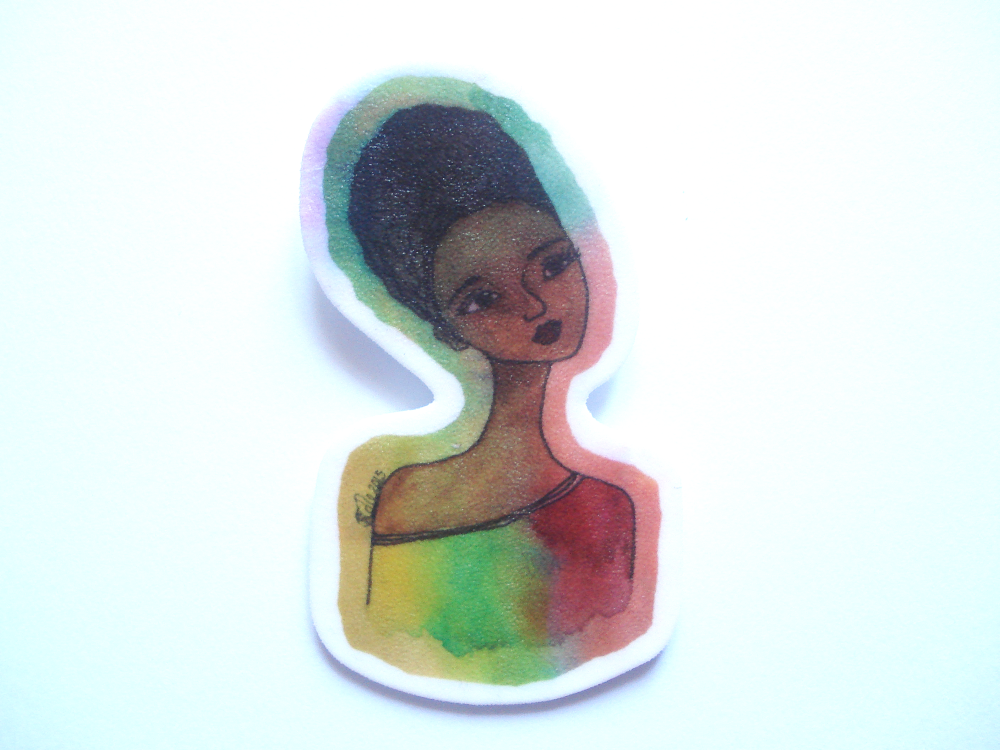Large Handmade Shrink Plastic Brooch 'Peace'