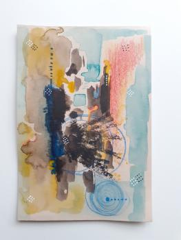 Original Mixed Media Abstract Art - 'Radial' (Unframed)
