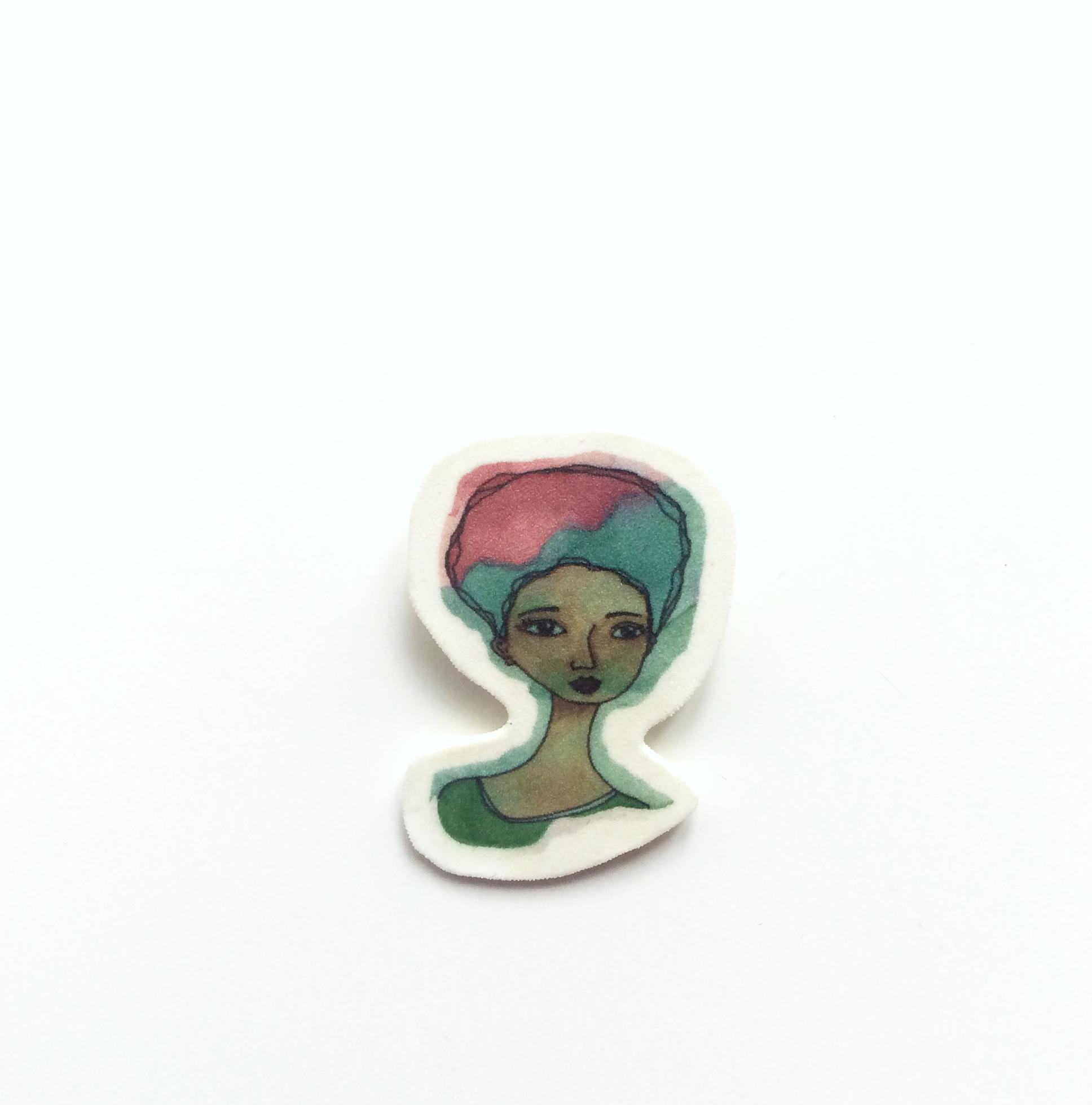 Small Handmade Afrocentric Brooch 'Faith'