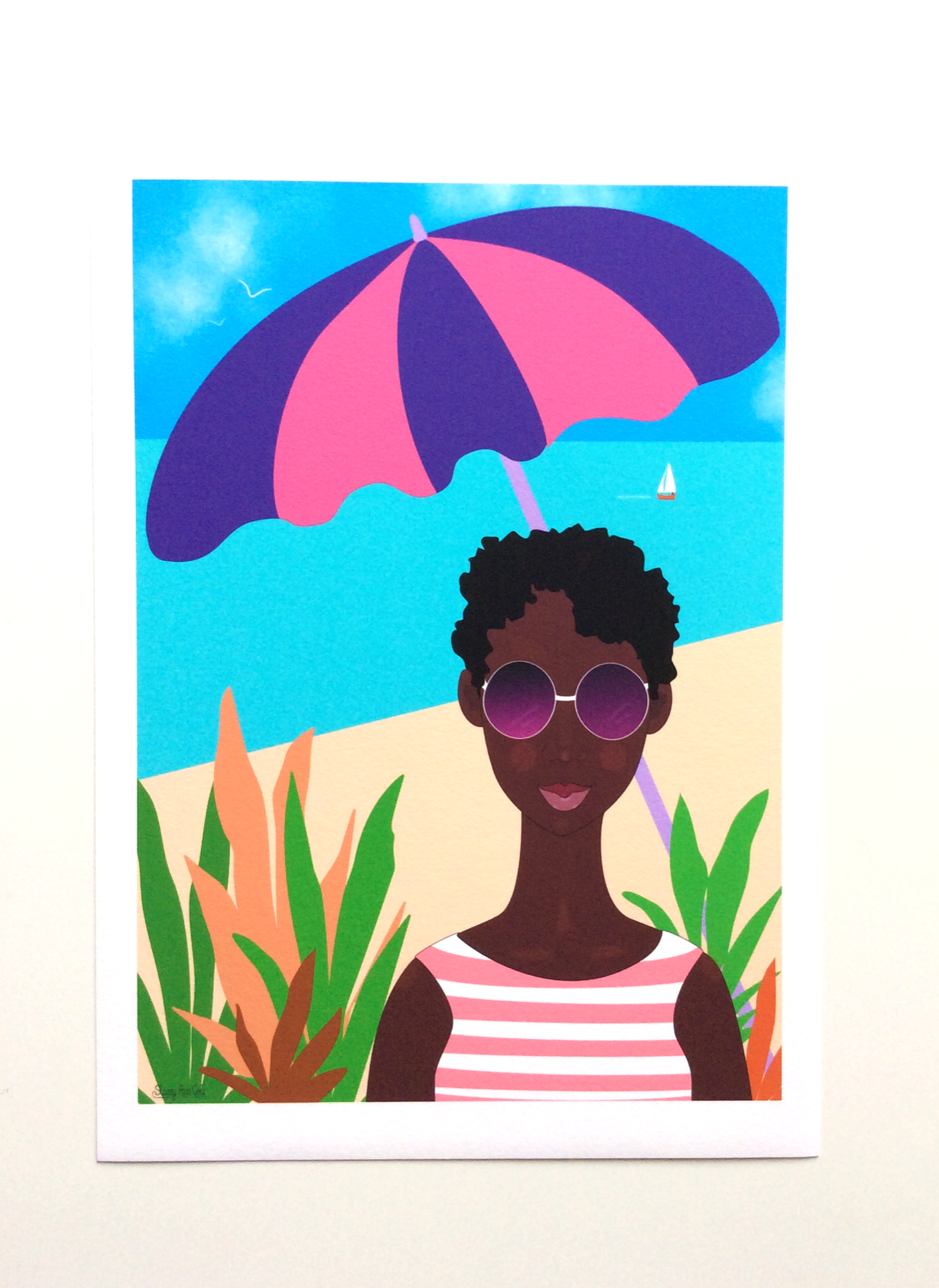 Black Woman Artwork print called 'Beach Vacation' by Stacey-Ann Cole