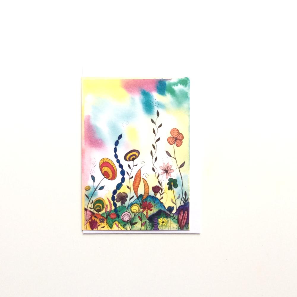 Watercolour Semi-Abstract Greeting Card 'Sub-Aquatic 2'