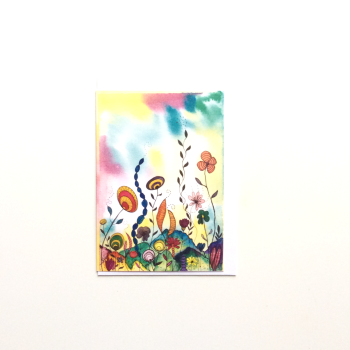 Watercolour Semi-Abstract Greeting Card 'Sub-Aquatic 2'
