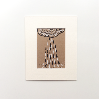 Small Original Drawing on Kraft Card Clouds and Rain Semi Abstract Artwork