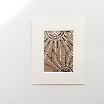 Small Original Drawing on Kraft Card 'Sunbeams' Artwork