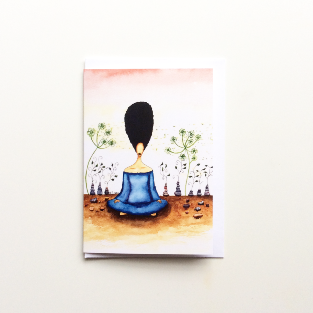 Black Greeting Card 'Needing Stillness'