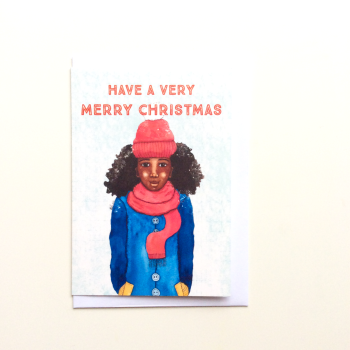 Black Christmas Greeting Card - Female - Have a Very Merry Christmas