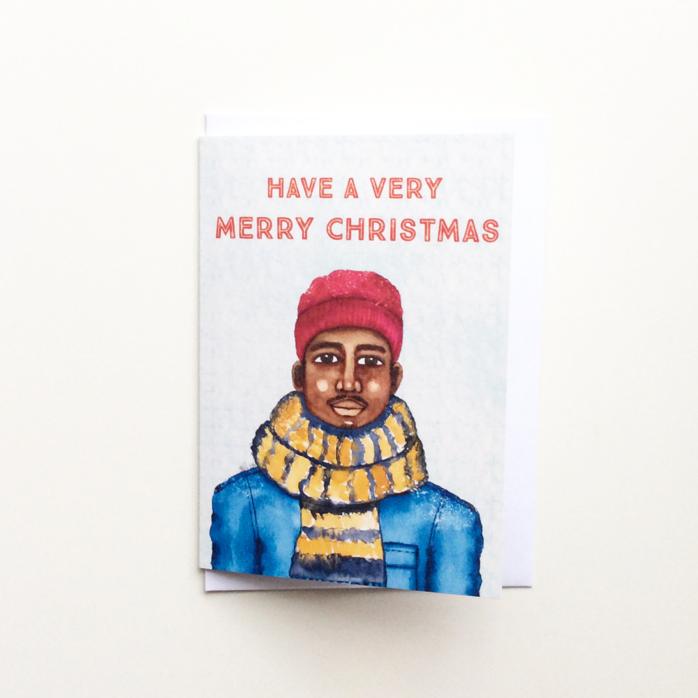 Black Christmas Greeting Card - Male - Have a Very Merry Christmas