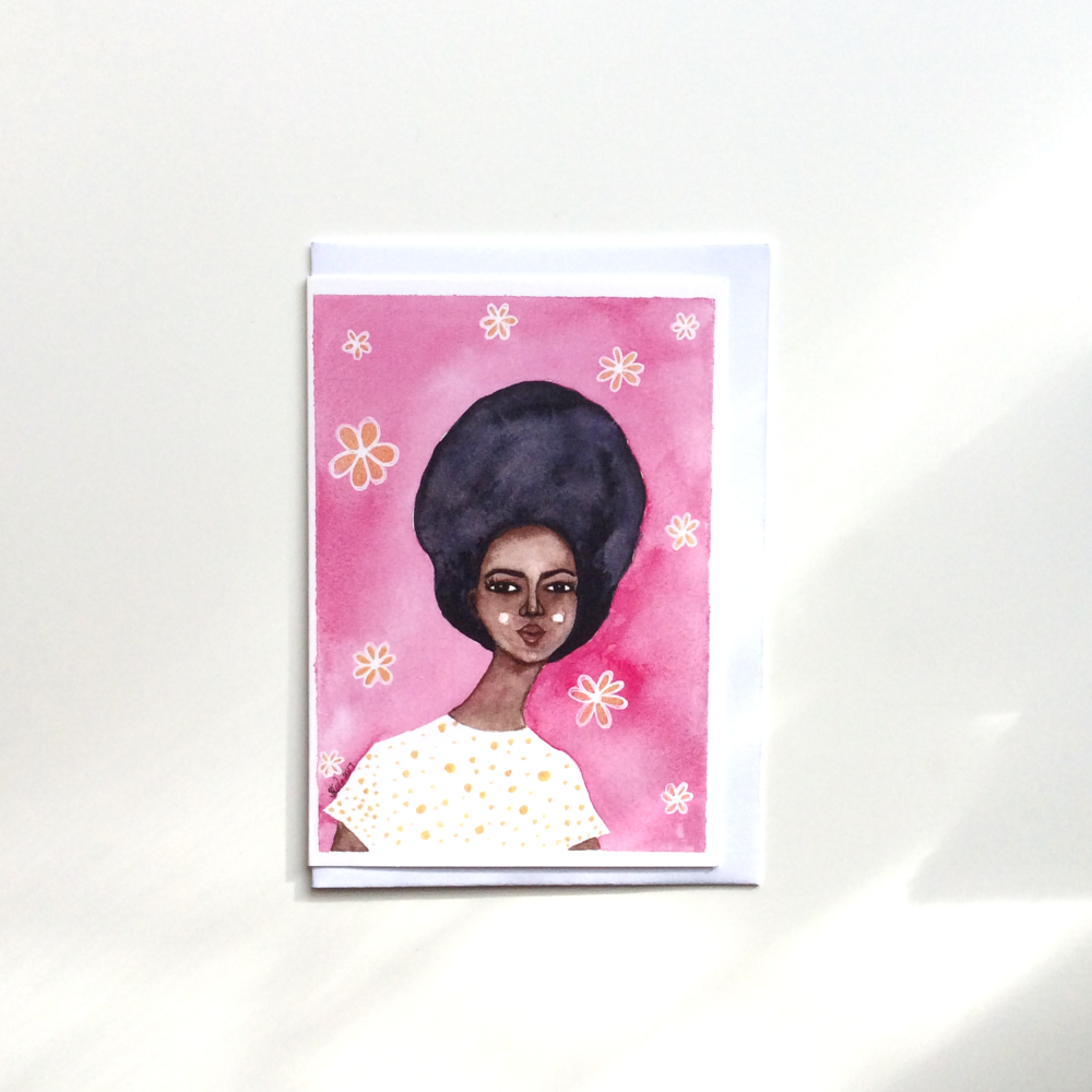 Black Greeting Card Retro 'Groovy Gold'