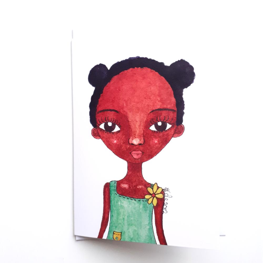 Little Girl Greeting Card | Black Greeting Card for Kids | 'Rosie Girl'