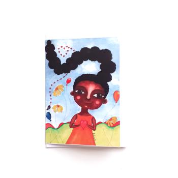 Children's Birthday Card | Kids | Little Girl | Black Greeting Card | 'I Love My Hair'