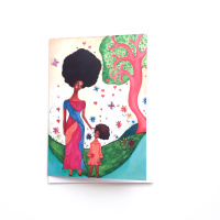 Black Greeting Card for Mothers and Mums | Mothers and Daughters | 'Love Surrounds'