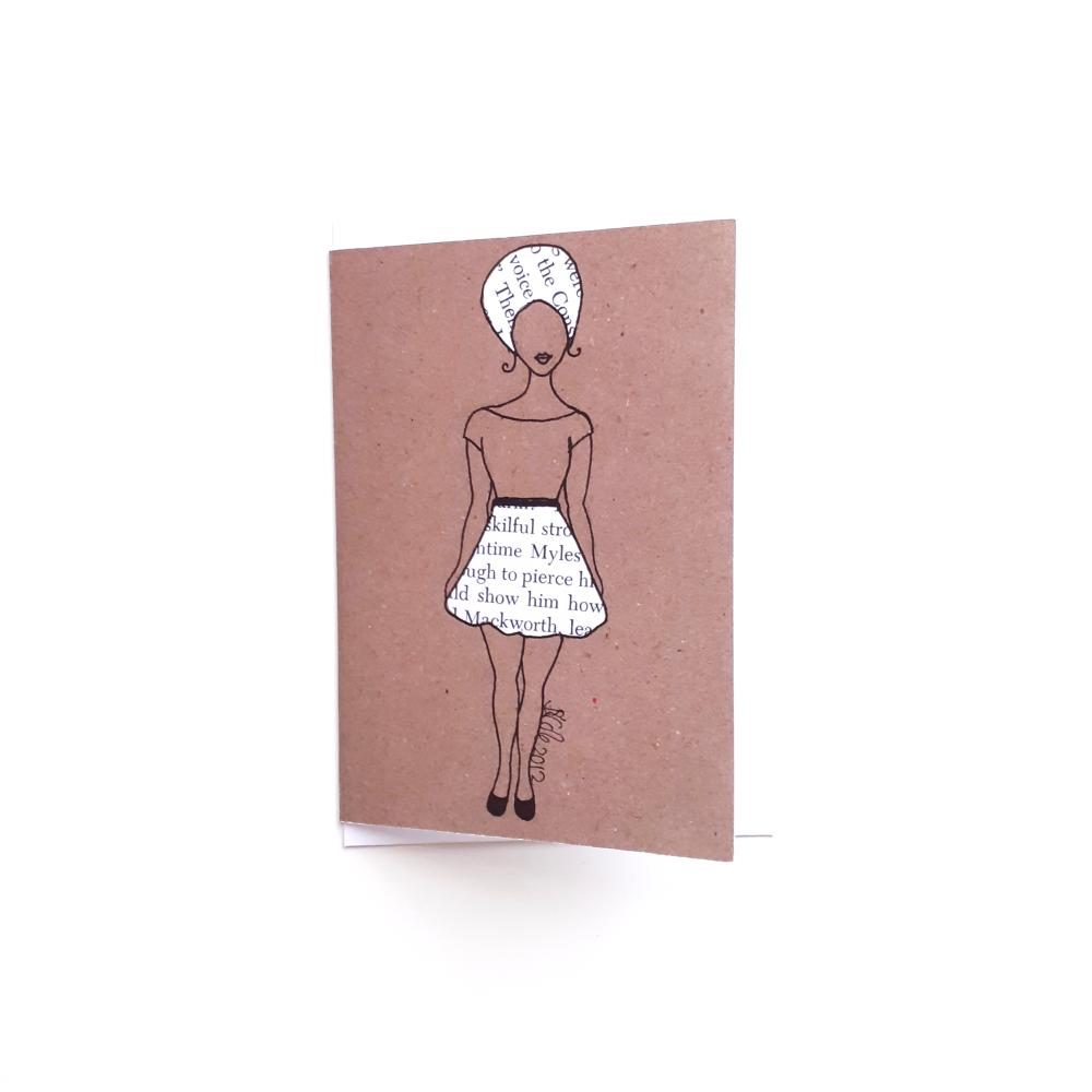 UK Black Woman Greeting Card 'Word Skirt' | Black Greeting Cards