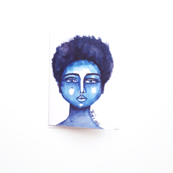 Black Greeting Card | Afro | Afrocentric 'Little Blue' Greeting Card