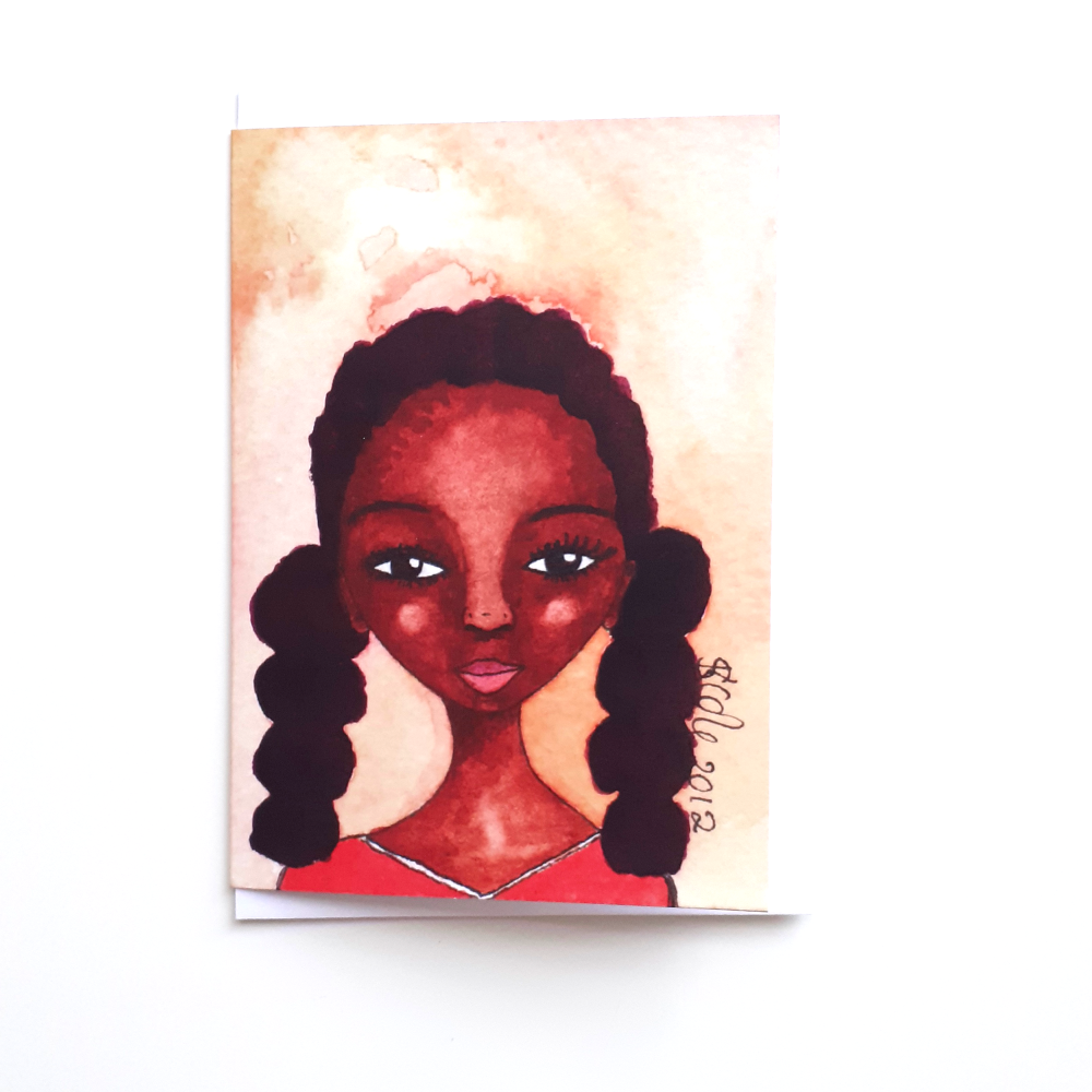 Black Greeting Card | Girls | Black Girls | Sporty | 'Tennis Girl'