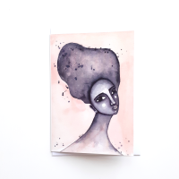 Black Greeting Card for Black Women 'Yearning' Watercolour Art Card