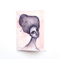 Black Greeting Card 'Yearning' Watercolour Art Card