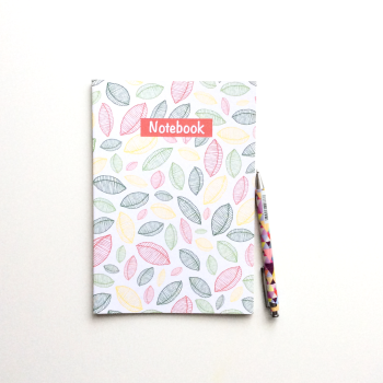 NOTEBOOK - 'Scattered Leaves' | Recycled Lined Notebook | Patterned Notebook