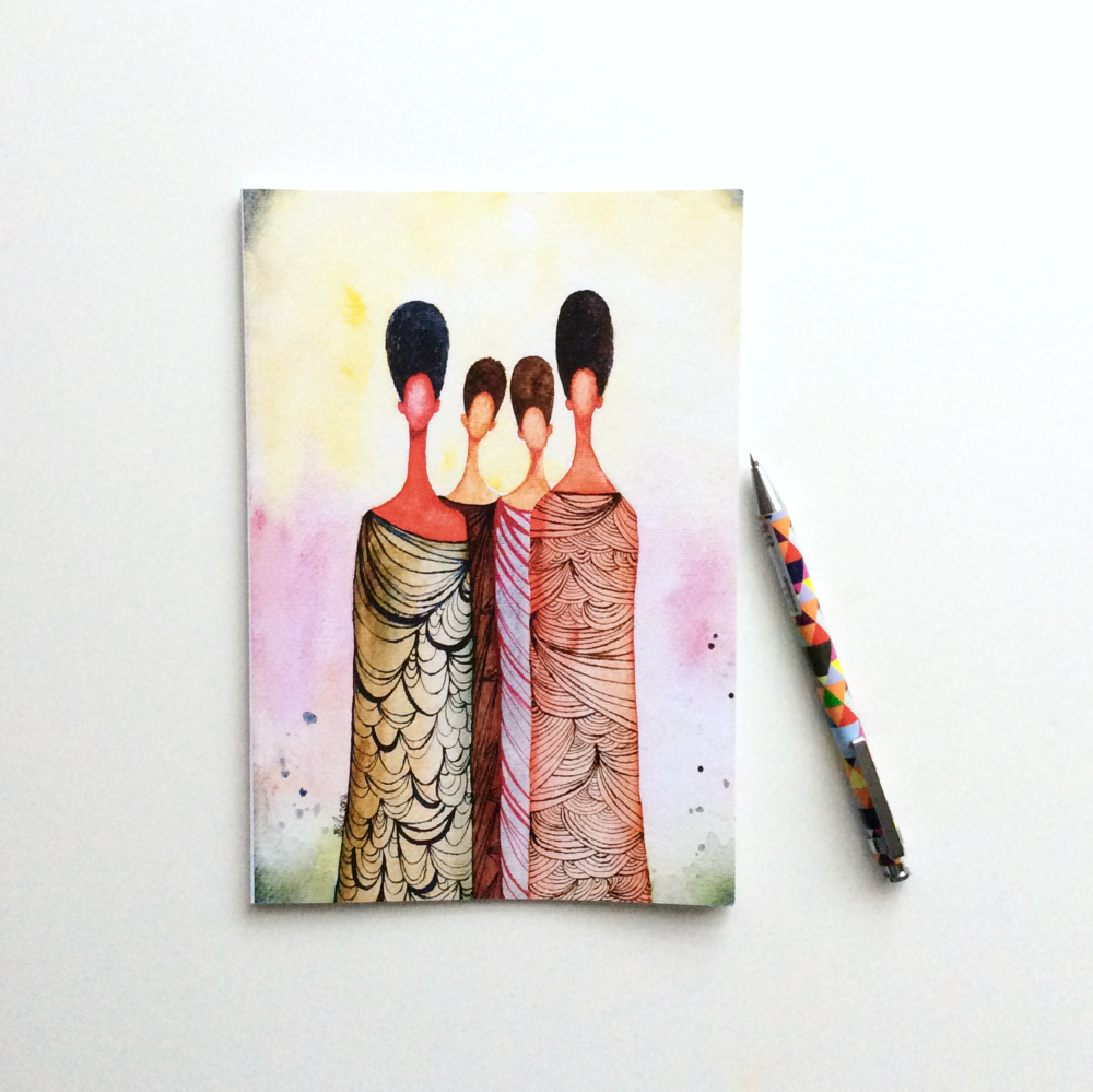 NOTEBOOK - 'Wise Women' | Black Art Illustrated Notebook | Stationery Gift