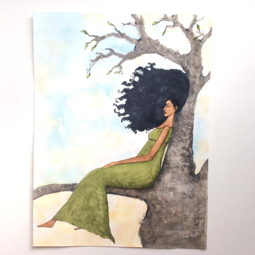 "Black Wall Art and Home Decor | Figurative Artwork | 'Presence"" Black African Caribbean Original Artwork"