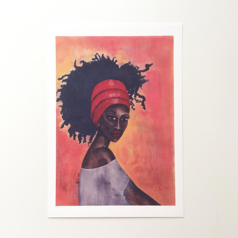 Black Woman Artwork Print 'Worthy', A4 Size, Unframed