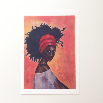 Black Woman Artwork Print 'Worthy', A4 Size, Unframed
