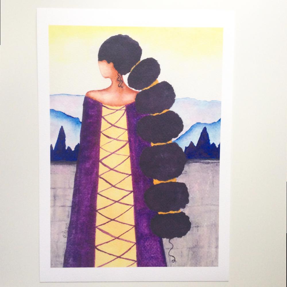 ART PRINT African American 'Queen', A4 Size, Unframed