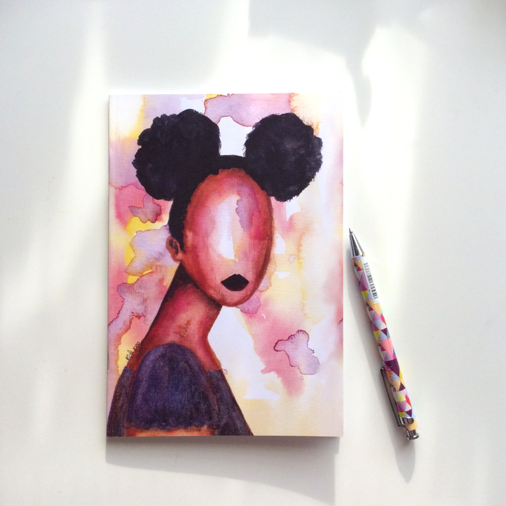 Black Art Illustrated Notebook | Black Christmas Gifts - 'Self Love'